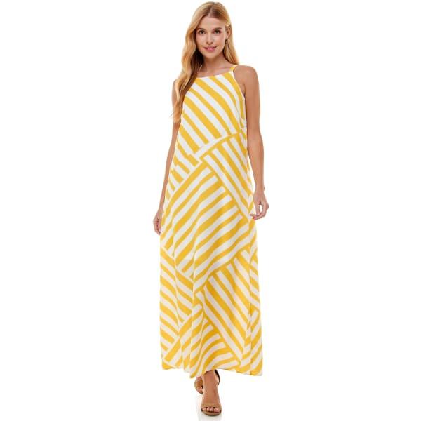 Fun Yellow Stripe Maxi Dress
