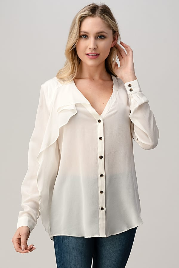 Kaii 100% Silk Ruffled Button Neck Front with Long Sleeves Shirt
