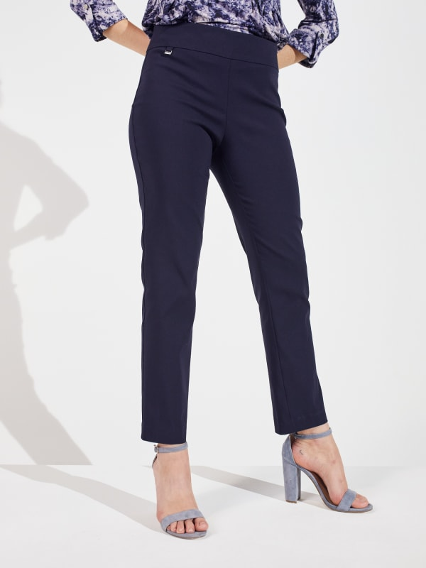 Roz & Ali Super Stretch Pull On Tummy Control Pants with Wide Waistband and Charm Trim