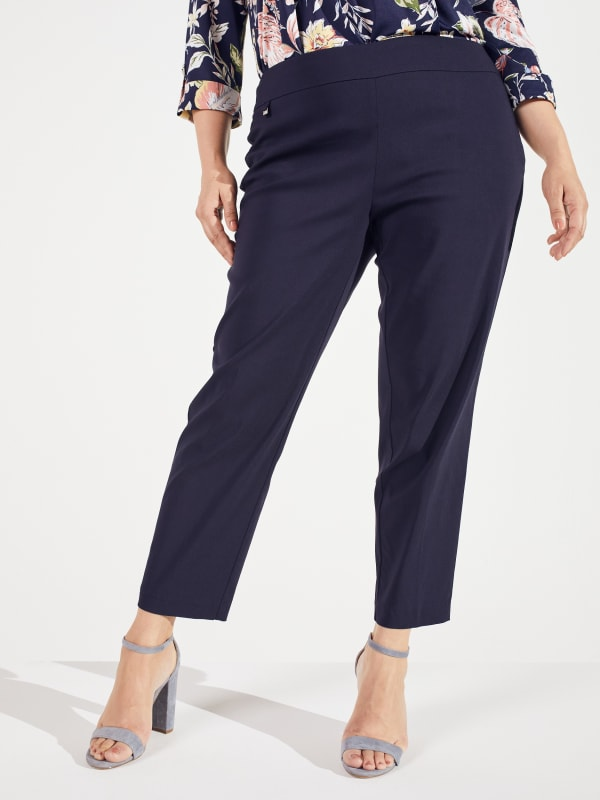 Roz & Ali Super Stretch Pull On Tummy Control Pants with Wide Waistband and Charm Trim - Plus