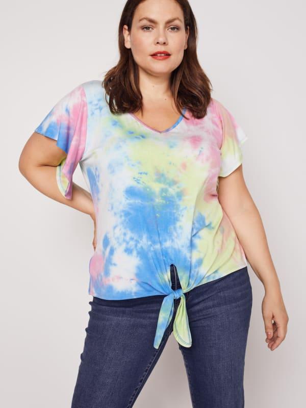 Westport Pink Tie Dye Knit Top - Plus