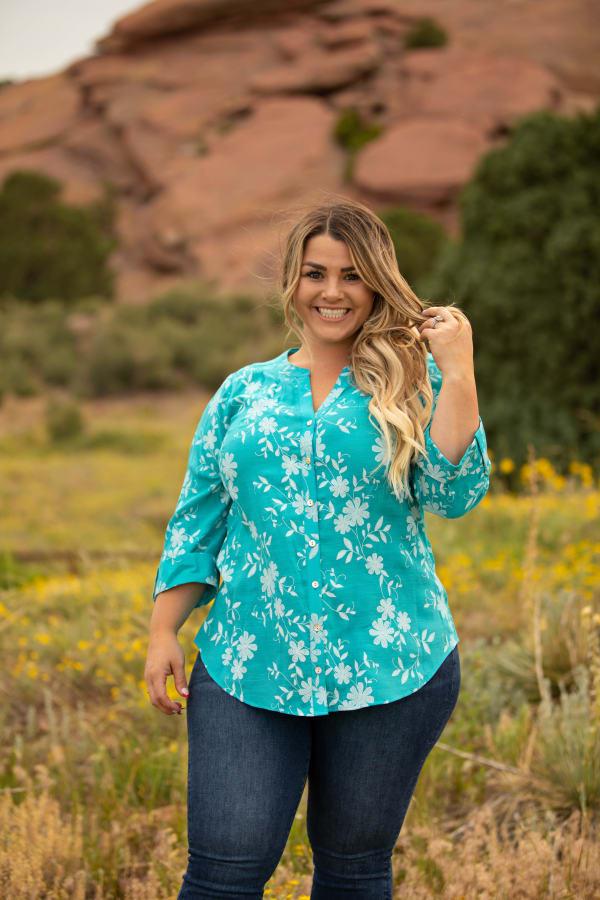 Westport Floral Button Front Shirt - Plus