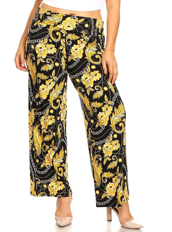 Printed Relaxed Wide Palazzo Pants - Plus