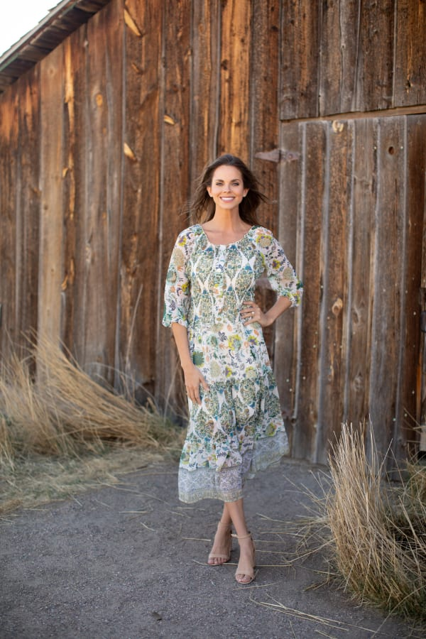 Veronica Ivory/Olive Border Print Peasant Dress
