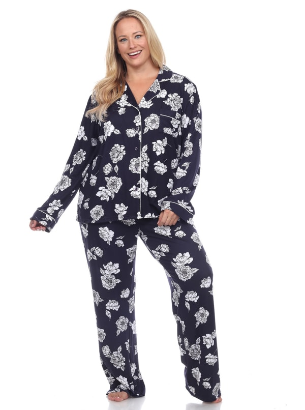 Long Sleeve Floral Pajama Set - Plus