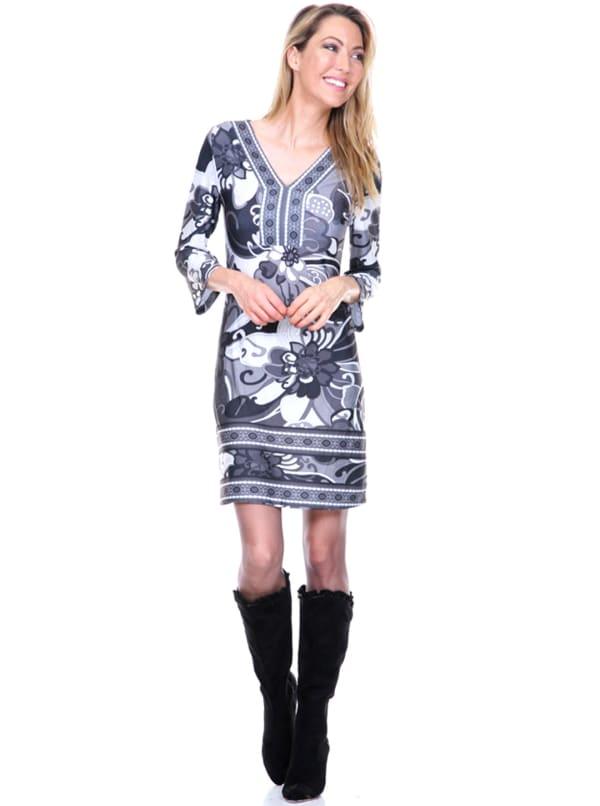 Carmen Printed V Neck Dress