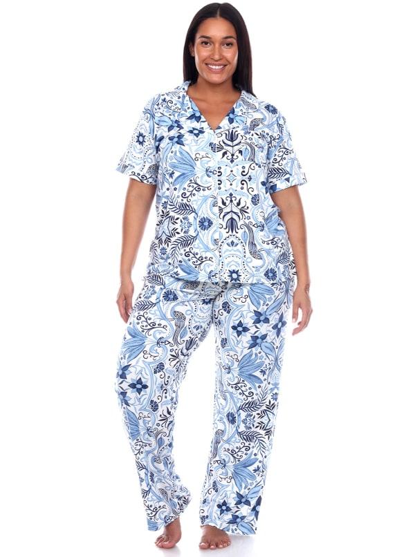 Short Sleeve & Pants Tropical Pajama Set - Plus