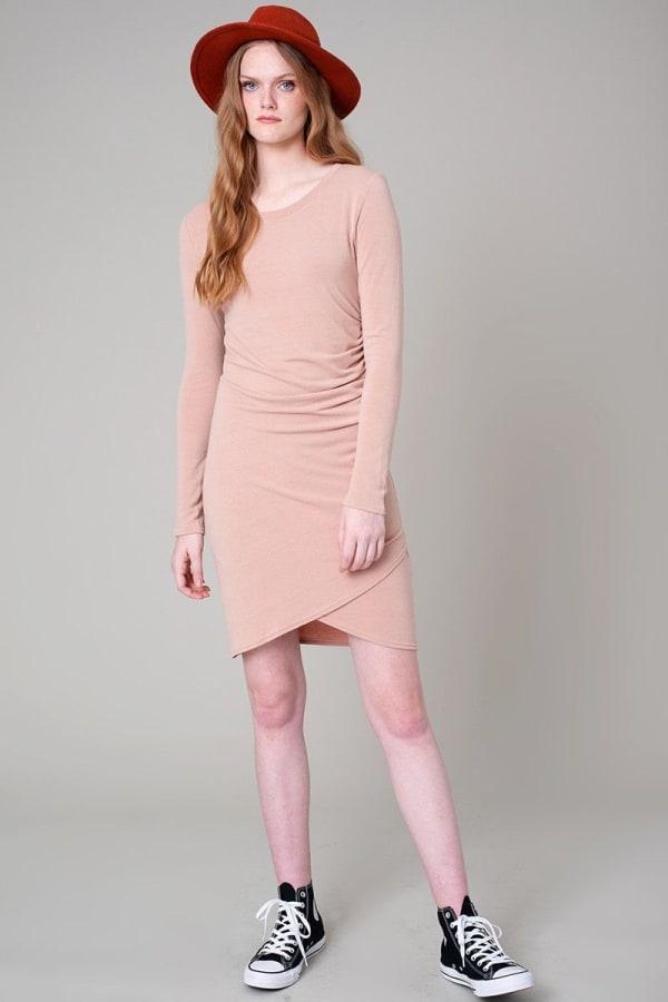 Long Sleeve Side Pleated Tulip Bottom Dress