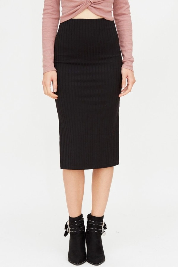Ribbed Pencil Skirt with Slit