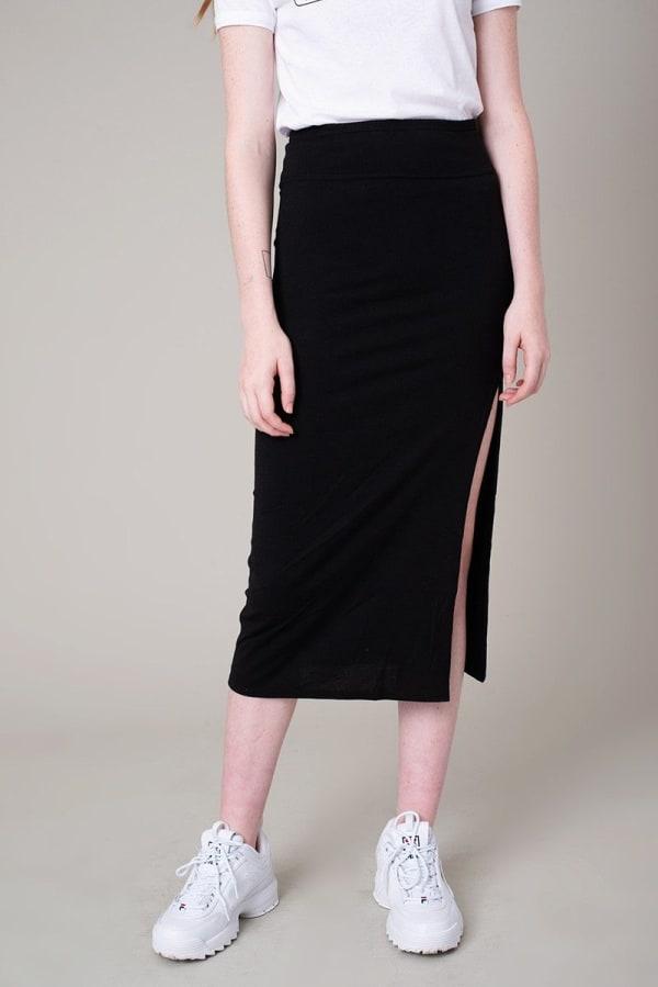 High Slit Midi Pencil Skirt