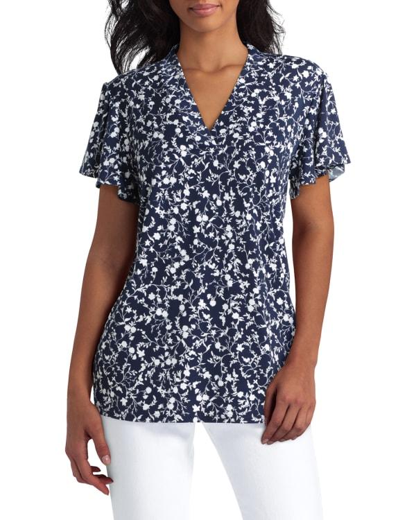 Isaac Mizrahi Short Sleeves V-Neck Knit Top