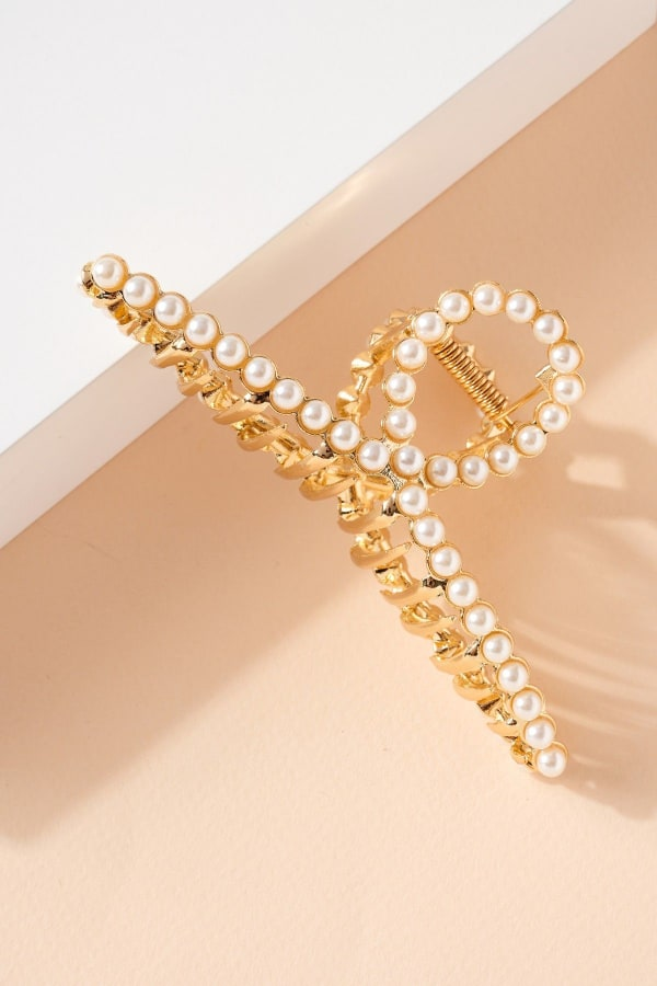 Pearls Metal Hair Claw