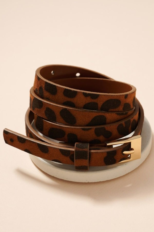 Metal Buckle Animal Faux Leather Belt