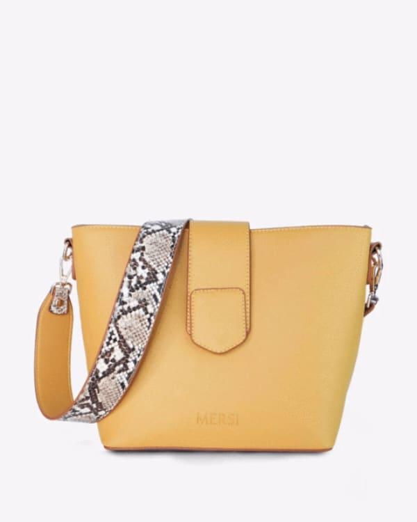 Mersi Isabel Snake Print Bucket - Vegan Leather Bag