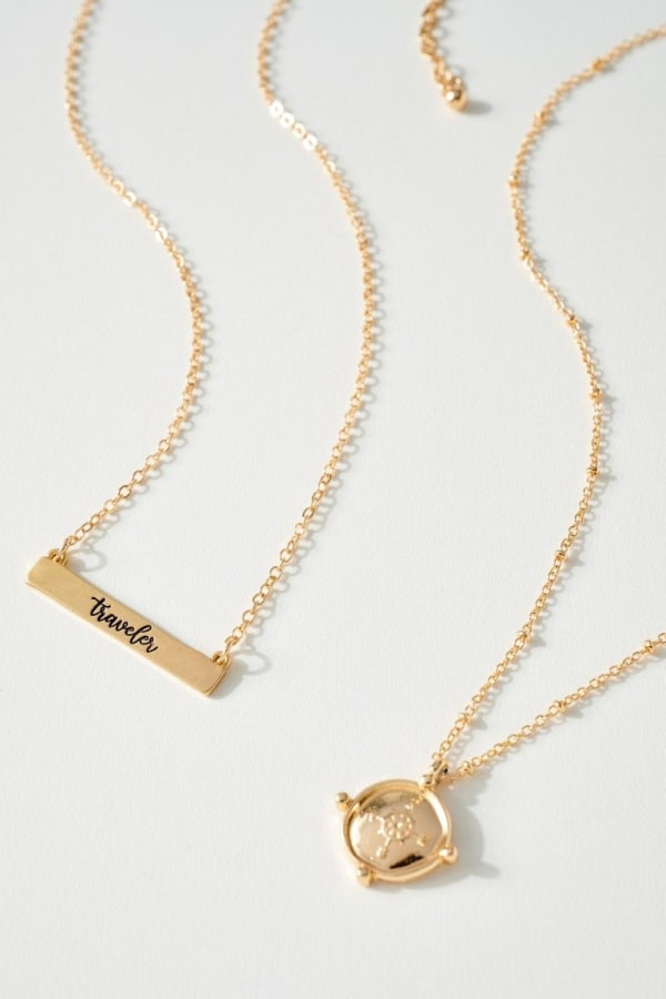 Traveler and Compass Set of Necklace