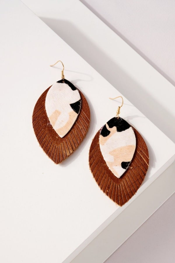Genuine Leather Animal Print Earrings