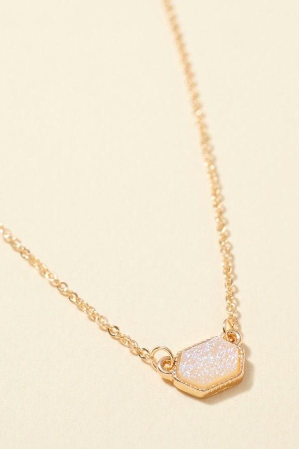Hexagon Druzy Stone Charm Short Necklace