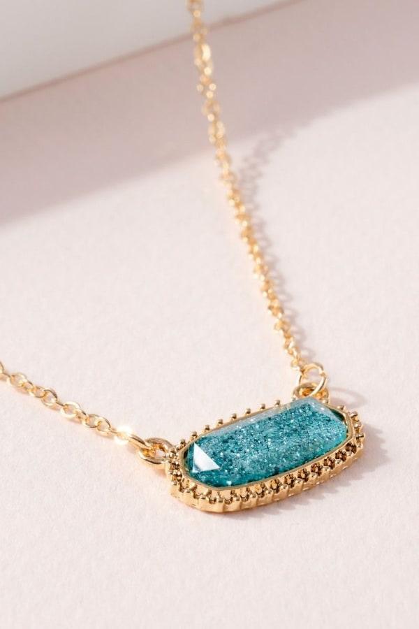 Gemstone Charm Short Necklace