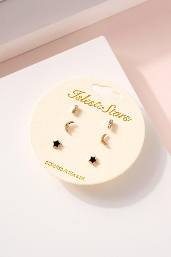 Star Moon Bar Earrings Set