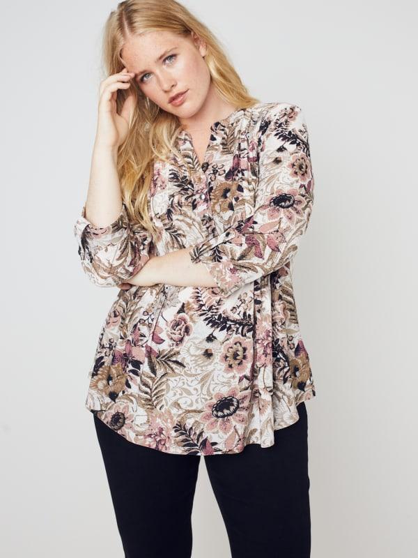 Roz & Ali Burgundy Floral Popover - Misses