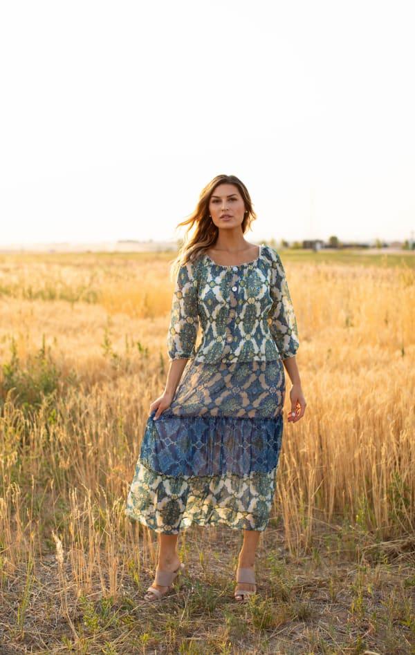 Veronica Green/Blue Tile Print Peasant Dress