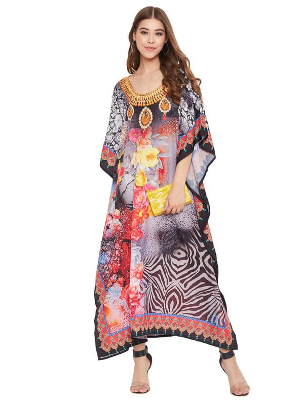 Floral Pattern Kaftan Dress - Plus