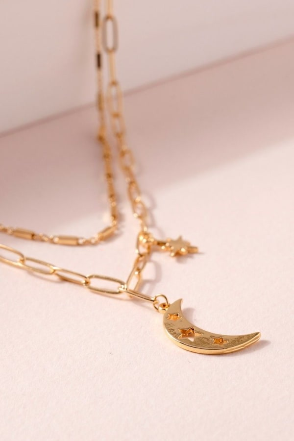 Star Moon Charms Layered Necklace