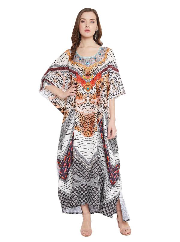 Leopard Patten Maxi Kaftan Dress - Plus