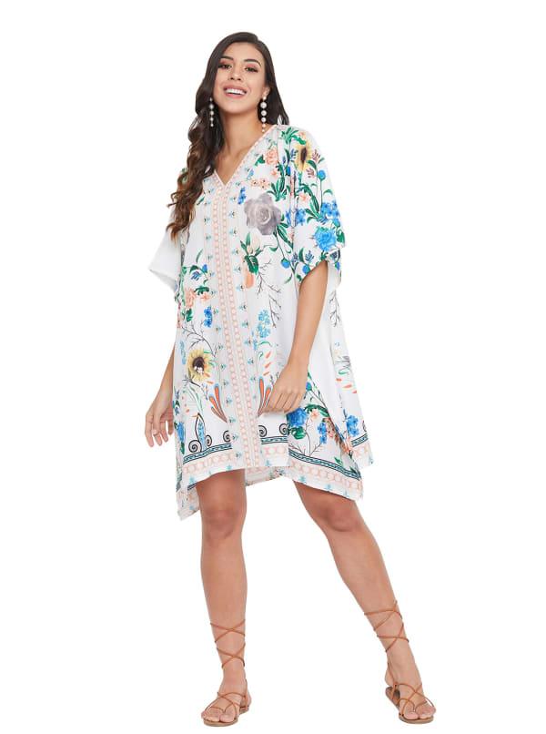Mini White Floral Pattern Tunic Kaftan Dress - Plus