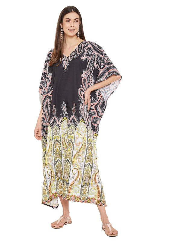 Paisley Pattern Loose Kaftan Dress - Plus