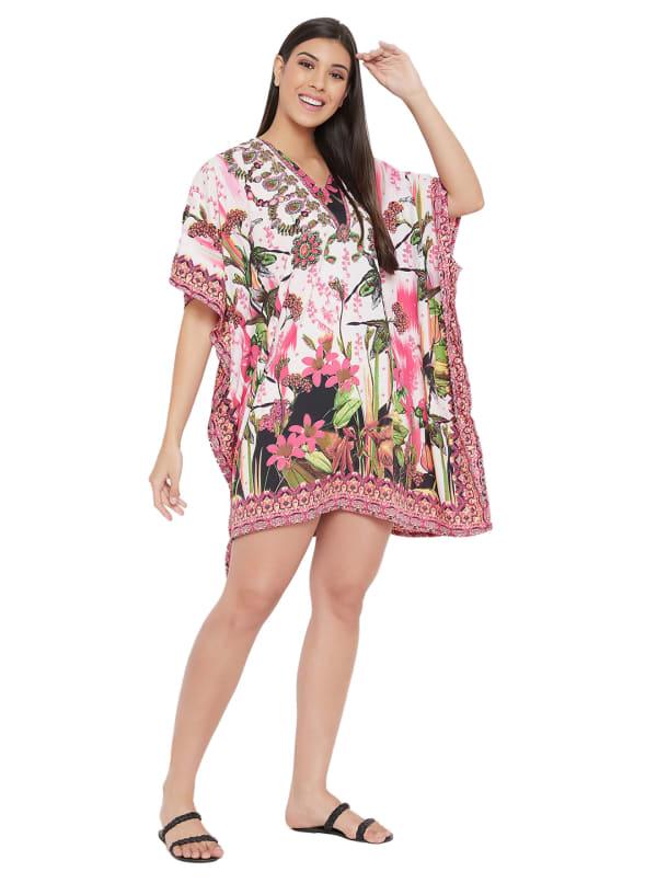 Mini Pink Floral Pattern Tunic Kaftan Dress - Plus