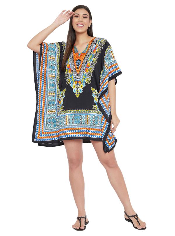 Mini Black Short Sleeve Tunic Kaftan Dress - Plus