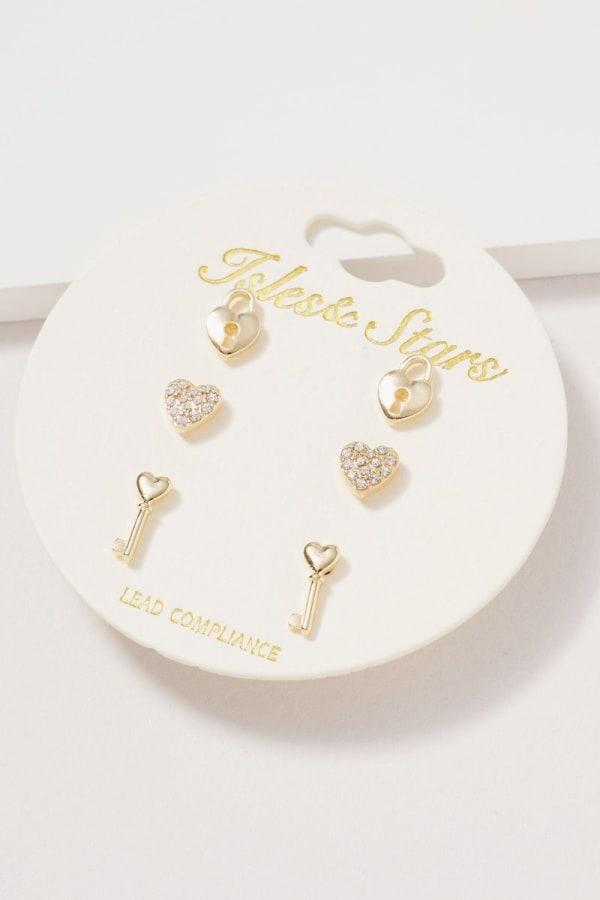 Heart Lock Key Stud Earrings Set