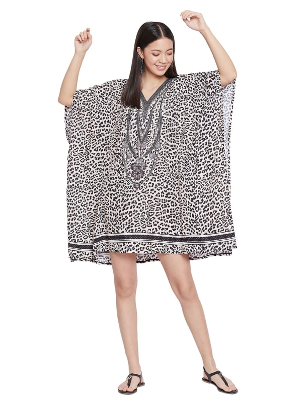 Mini Beige Short Sleeve Tunic Kaftan Dress - Plus