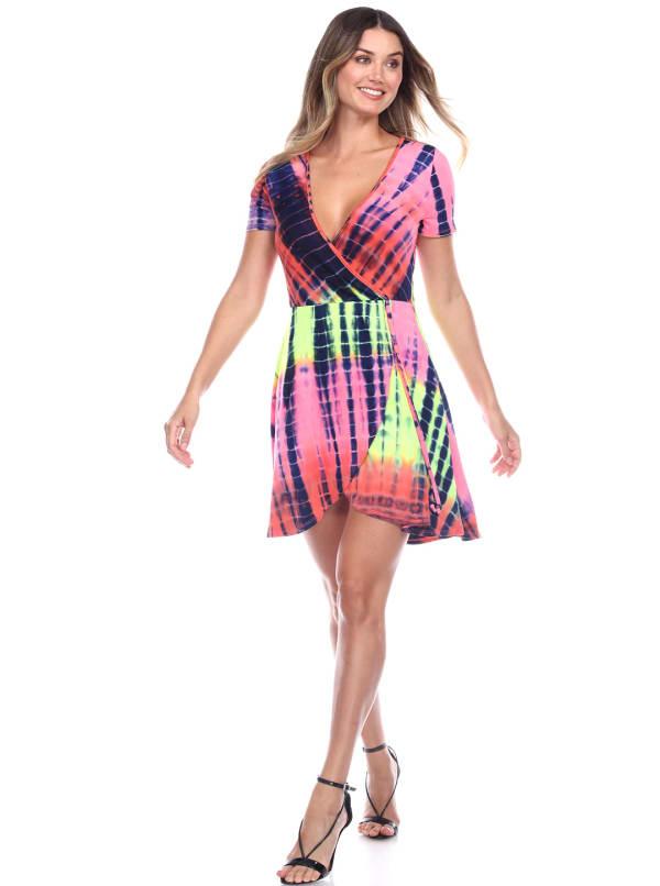 Tie Dye Print V-Neck Wrap Dress