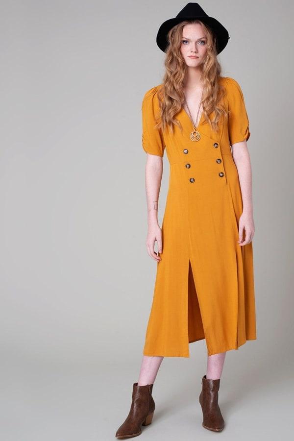 Vintage Front Slit Button Down Midi Dress