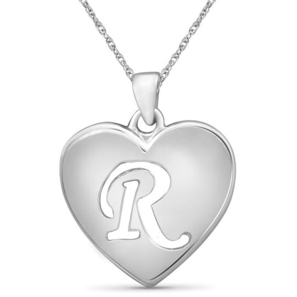"""Jewelonfire Sterling Silver A To Z """"P"""" Initial Cutout Heart Pendant,18"""""""