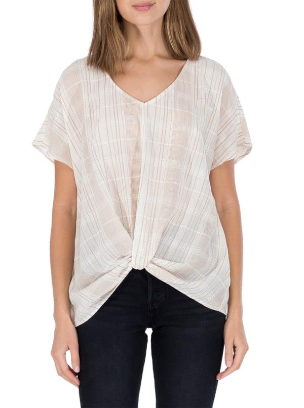 Twist Front Short Sleeve Blouse