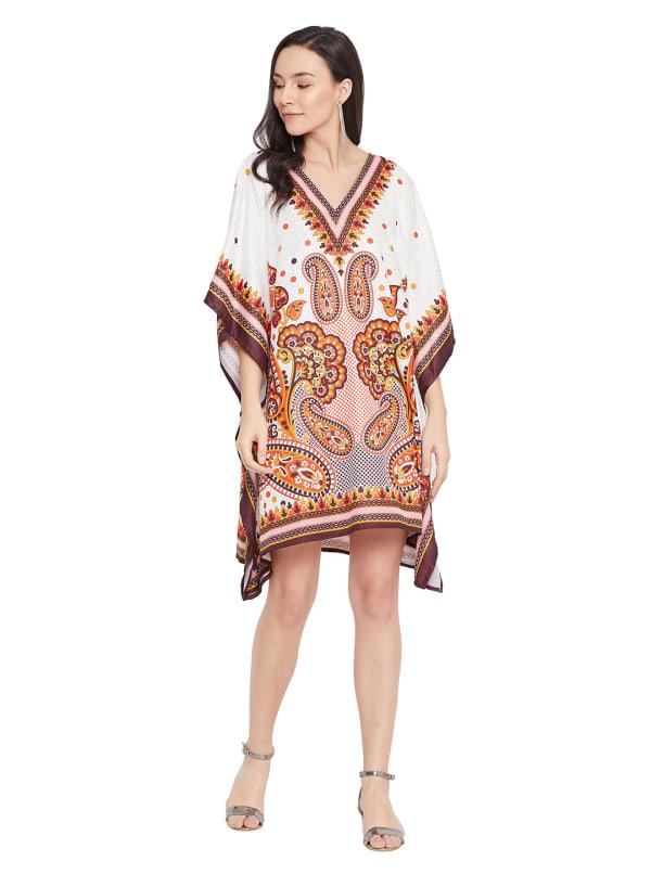 Paisley Pattern V-Neck Tunic Dress - Plus