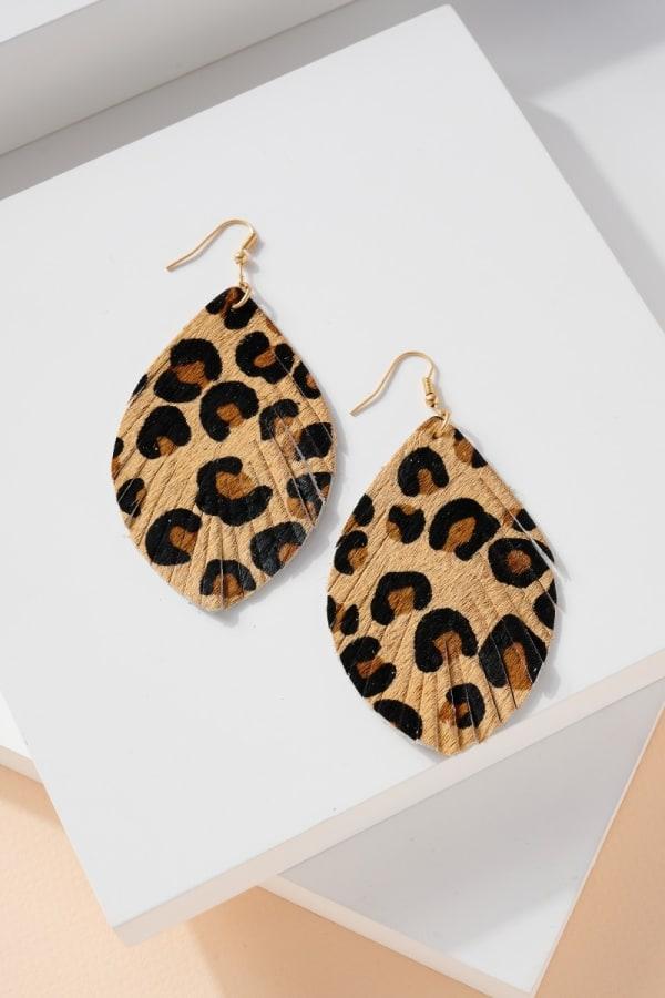 Animal Print Calf Hair Leather Feather Earrings