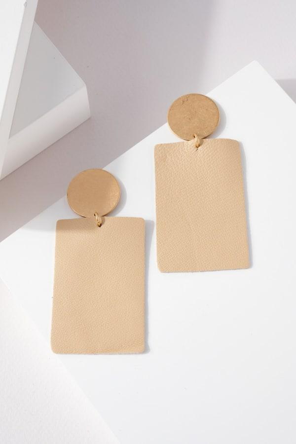 Rectangular Genuine Leather Earrings