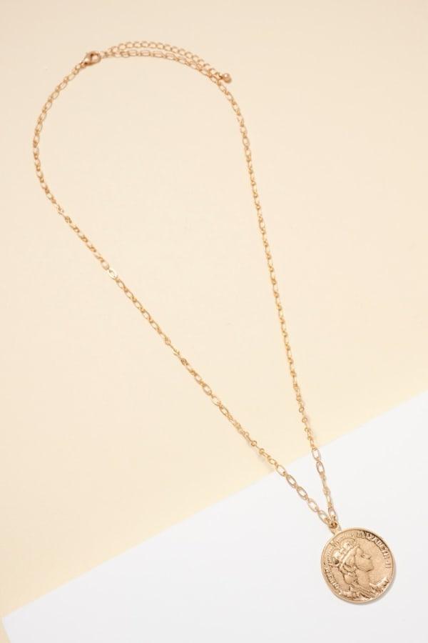 Metal Coin Pendants Long Necklace