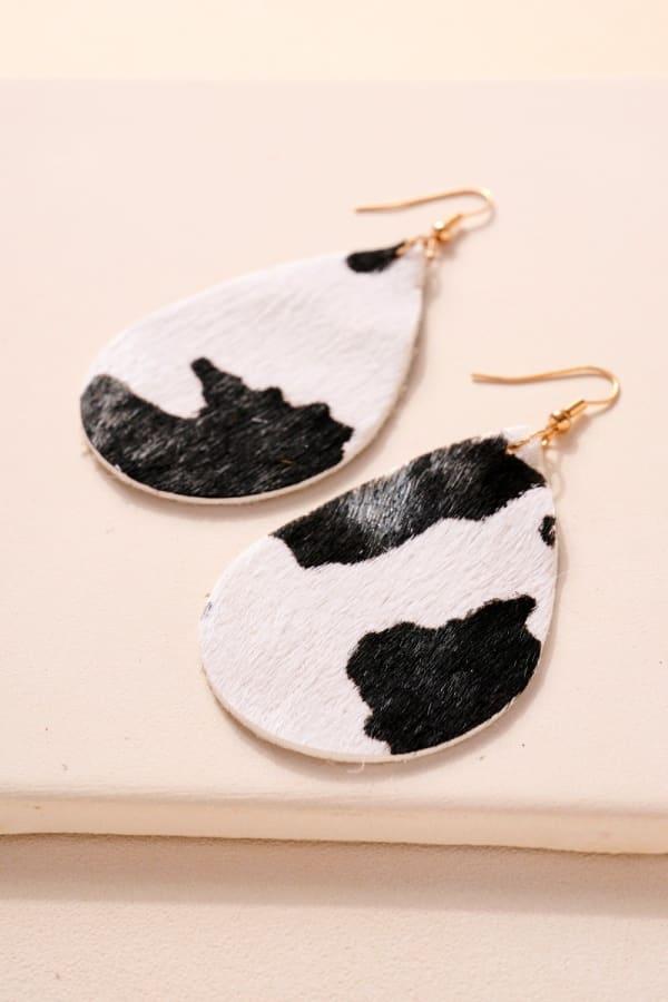 Animal Print Tear Drop Dangling Earrings