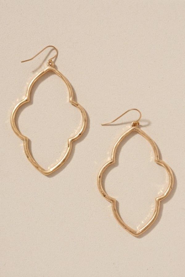 Quatrefoil Metal Dangling Earrings