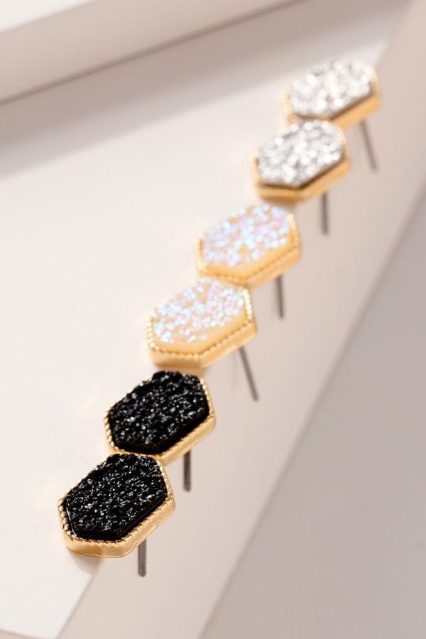 3 Pair Set of Druzy Stone Stud Earrings