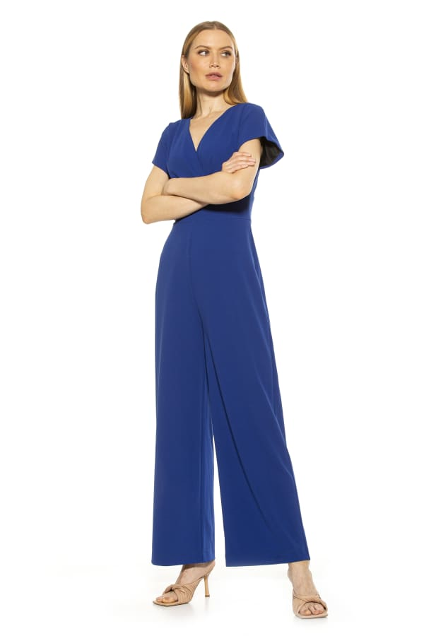 Surplice Short Sleeve Jumpsuit