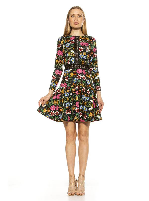 Alexa Lace Trim Floral Print Dress