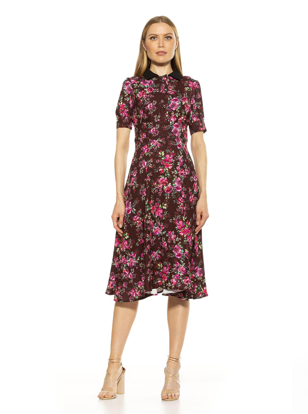 Emery Cap Sleeve Collared Fit And Flare Dress