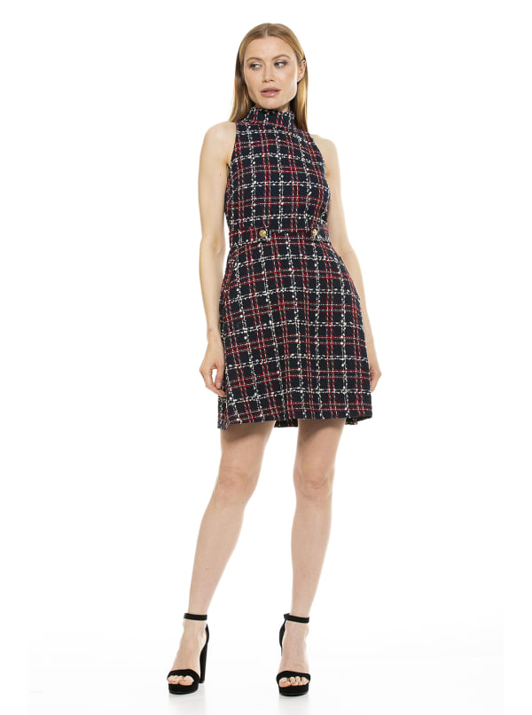Avery Plaid Mock Neck Fit And Flare Dress