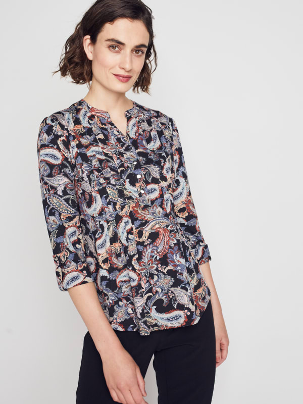 Roz & Ali Multi Color Paisley Pintuck Popover